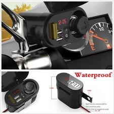 Waterproof Motorcycle ATV Dual USB Charger 5V Cigarette Lighter Handlebar Mount