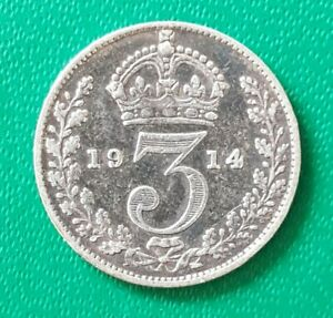 1914 Threepence 3 Pence George V Silver Coin