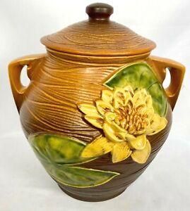Roseville Water Lily 1-8 Cookie Jar  Brown - Terra Cotta Circa 1943