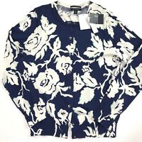 Lands End Womens Sweater Button Down Cardigan Floral Blue Ivory Sze M 10-12 NEW