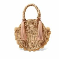 Women Handbag Woven Fashionable Round Straw Crossbody Bohemian Tassel Rattan Bag