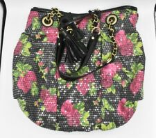 Betsey Johnson Purse Shoulder Bag Metallic Sequin Roses Leopard Black Chain Chic