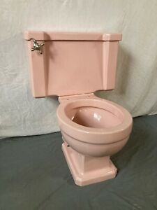 Vtg Mid Century Case Pink Porcelain Complete Toilet Bowl Tank Lid Old 306-21E