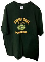 This Girls Loves The Green Bay Packers NFL Green Shirt Size XL