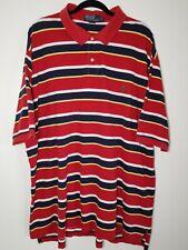 Polo Ralph Lauren Mens Blue White Red Striped Polo Shirt Size 3XLT Big Tall Rare