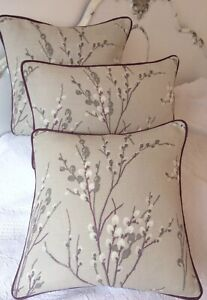 """16""""cushion cover in Laura Ashley Pussy Willow Natural Piped"""