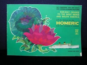 Home Lines SS Homeric Sun-Way Cruises Brochure for Cruises in 1971 & 1972