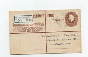 Ga046/ Australien Ganzsache EINSCHREIBEN Umschlag oo