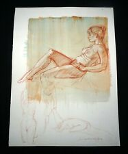 Hawaii Mixed Media Wash Painting Seated Female Nude Snowden Hodges(Sho)#127