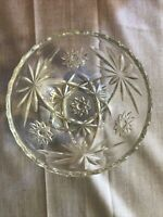 "VINTAGE PRESSED GLASS CANDY DISH No Lid 5 1/4""  DAISY PATTERN"