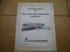 Allis Chalmers No 2214 Disc Harrow Fold Up Operators Manual