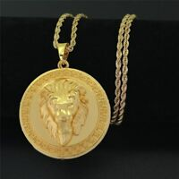 Men's 18K Real Gold Plated Lion Head Pendant Necklace Twisted Rope Chain 80cm