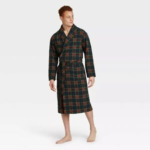 Goodfellow & Co. Plaid Fleece Robe Men's L / X-Large, Green