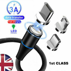 3 in1 Magnetic Fast Charging USB Cable Charger 2.4 A Type-C Micro USB UK SELLER