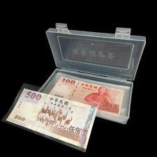100Pcs Paper Money Storage Album Currency Banknote Case Holder Collection w/ Box