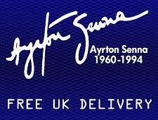 Ayrton Senna tribute autograph signature sticker decal - 200mm White