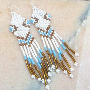 WHITE BRONZE BLUE SEED BEADS BEADED EARRINGS HANDMADE E6/7