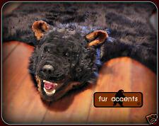 Black Bear Skin Pelt Rug / Taxidermy Reproduction Faux Fur Life size 5' x 6'
