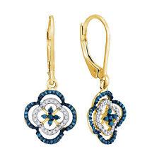 Diamond Earrings 10K Yellow Gold Blue & White Diamond Dangle Leverback Earrings