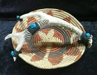 Vtg. Deer Antler Handled Mexican Weave Basket.