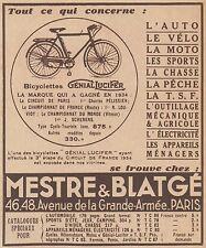 Z9678 MESTRE & BLATGE' - Cycles Genial Lucifer -  Pubblicità d'epoca - 1934 Ad