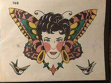 Vintage 1975 Spaulding & Rogers B & W Hand Painted Tattoo Flash Sheet #160