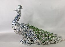 Vintage Ceramic Peacock Bird Light Tv Lamp Nightlight Holland Jewels Sparkle