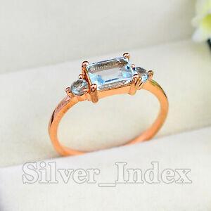 925 Sterling Silver Baguette Natural Aquamarine Gemstone Wedding Ring For Women