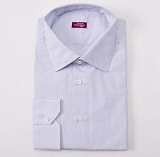 New $375 SARTORIA PARTENOPEA White-Sky Graph Check Cotton Shirt 19 x 38