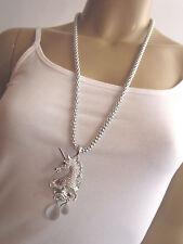 Damen Kette Bettelkette Modekette lang XL Strass Einhorn Unicorn Silber Bling