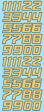 Zahlen Racing Numbers Gumball Nascar Style gold 1:43 Decal Abziehbilder