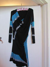 Black Green & Silver Stripe Slinky Stretch Oasis Dress in Size XS / Size 6 - 8