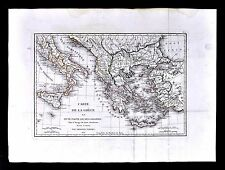 1822 Tardieu Map  Ancient Greece & Colonies Italy Athens Turkey Crete Aegean Sea