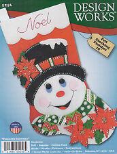 Felt Embroidery Kit ~ Design Works Poinsettia Snowman Stocking #DW5256