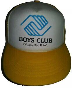 VTG Boys Girls Club Trucker Cap Hat Mesh Snapback Adjustable McAllen TX Yellow