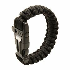 Paracord Survival Bracelet+Flint Fire Starter & Whistle f/ Hiking Camping-Black
