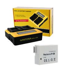 PATONA Dual Ladegerät mit 1x Akku für Canon EOS Kiss X4 X5 X6i X7i Li-ion ACCU