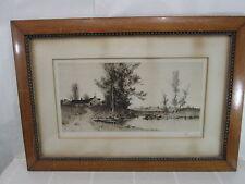 Antique Framed Etching- Radtke Lauchner 1893- Signed by Artist