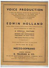 Voice Production by Edwin Holland - Published for Mezzo-Soprano - 1944 Softcover