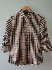 AQUASCUTUM Shirt Brown Blue Check Womens Size UK 8 Small Button Up