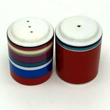 """DKNY Salt And Pepper Shakers Lenox Colorful Stripes Ceramic Bright Colors 2.5"""""""