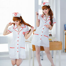 Sexy Women Cloth Dress Uniform Nurse Coat Hat Brief Cosplay Clothes Garment Gift