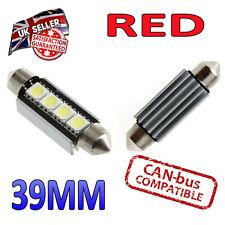 2 x 39mm ROSSO FESTONE CANBUS TARGA INTERNI LED 4 SMD lampadine da 239