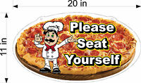 """NEW FULL COLOR PLEXIGLASS SIGN PLEASE SEAT YOURSELF PIZZA MAN 11"""" X 20"""" COUNTER"""
