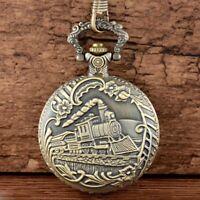 Vintage Antique Quartz Pocket Watch Train Steampunk Pendant Necklace Chain Retro