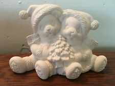 Ceramic Bisque Mold Sitting Bears Figure with Christmas Tree Ready to Paint
