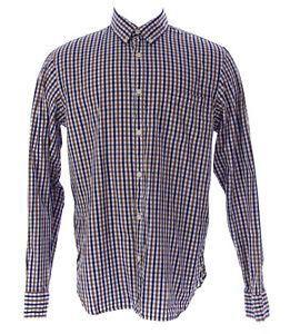 ETIQUETA NEGRA Men's Brown Checkered Button-Up Shirt ENH357 Size M NEW