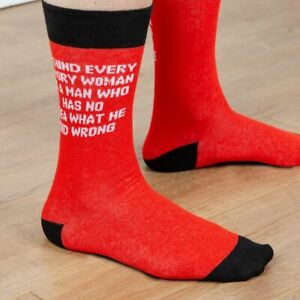 PAIR OF MENS SOCKS NOVELTY / BEHIND EVERY ANGRY WOMAN /  SIZE 7-11 UK SELLER