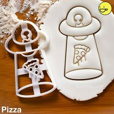 UFO Pizza Abduction cookie cutter | Extraterrestrial halloween party grey alien