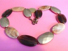 u14---QUIRKY GOLD AMBER & AGATE EFFECT COLOUR LARGE BEADS NECKLACE